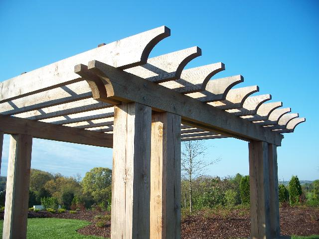 Double Square Posts Wood Pergola. Basic custom end cut ... - Factory Direct Remodeling Of Atlanta - Photo Gallery