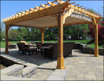 Awesome Stunning Cedar Pergola. Beautiful Stone Patio Partially Covered With Free  Standing ...