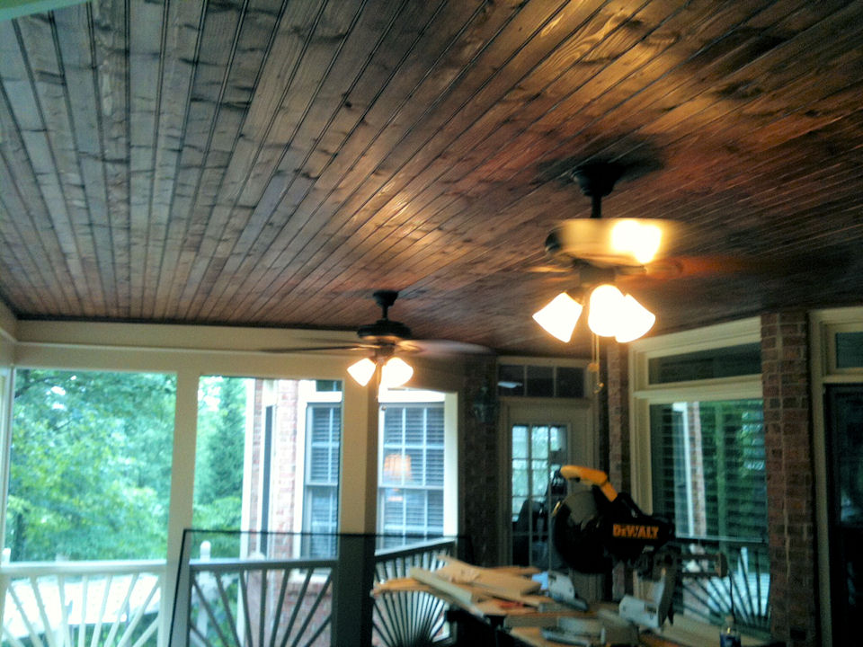 screen room wood ceiling - Wood Under Porch Ceiling