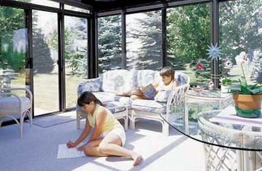 White Picket Knee Wall Sunroom
